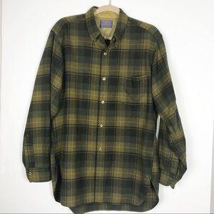 Pendleton Flannel Shirt Mens Large Green